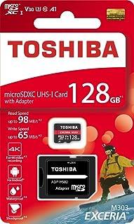 东芝 128GB 128G EXCERIA M303 带 SD 适配器 microSDXC UHS-I U3 卡 4K Class10 V30 A1 microSD 显卡 读卡 98MB/s 写 65MB/s (THN-M303R1280A2)