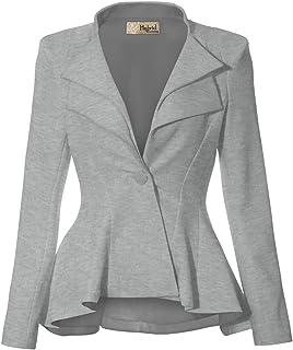 HyBrid & Company 女式双缺口翻领垫肩式办公室西装外套  Heather Gr-dressy & Premium Weight 3X