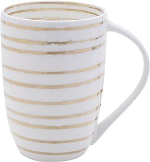 Mikasa 骨瓷咖啡杯 Swirl White/Gold 16盎司 5203282