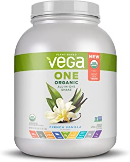 Vega One Organic All-in-One Shake French Vanilla XL (43 Servings, 58.1oz) - Plant Based Vegan Protein Powder, Non Dairy, Gluten Free, Non GMO
