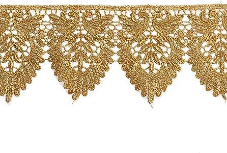 7.62 厘米金属蕾丝饰边适合新娘、服装或珠宝、工艺品和缝纫,LP-MX-3399 Gold (2-yards) LP-MX-3399-GD-FA