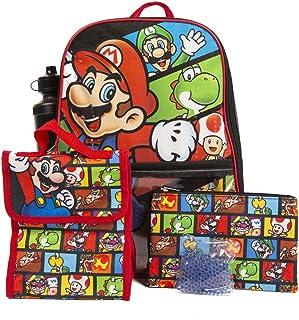 *马里奥 背包 带午餐盒 适合男孩和女孩 16 英寸(约 40.6 厘米)5件超值套装