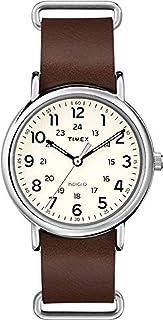 Timex 中性款石英手表模拟显示屏和皮革表带