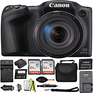 Canon 佳能 Powershot SX420 是20万像素Wi-Fi数码相机,42倍变焦(黑色)ZeeTech 套装CNSX420 2PCS 64GB Card + Deluxe Case Advanced Bundle