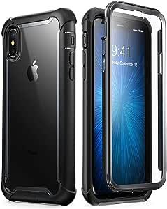 iPhone Xs Max 手机壳,i-Blason [Ares]全机身坚固透明保护壳带内置屏幕保护膜,适用于 iPhone Xs Max 6.5 英寸(2018 版本)iPhone2018-6.5-Ares-Black 黑色