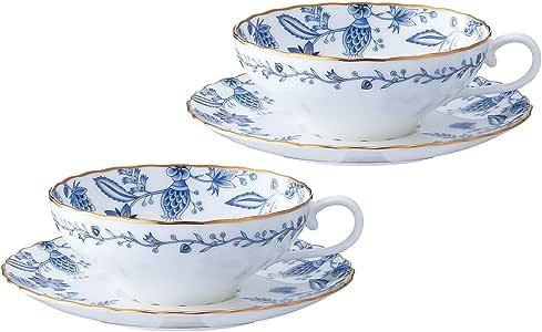 Noritake(诺里塔克) 骨瓷 蓝宝石 茶碗盘 对装 P58043A/4562