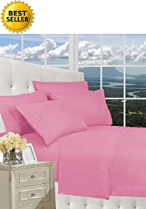 BESPOLITAN INC. Elegant Comfort 1500 系列奢华丝滑柔软抗皱床单 4 件套,袋深高达 40.64 cm - 所有尺寸和颜色, 浅粉色 两个 COMIN18JU077068
