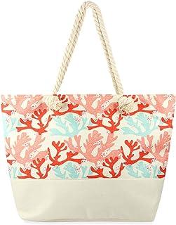 """大型可重复使用的环保购物袋沙滩手提包 - 旅行单肩包菠萝、花朵、骷髅、叶草、豹纹帆布面料 Coral Leaf 14"""" Length, 22"""" Width, 4"""" Depth, 8"""" Strap Length"""