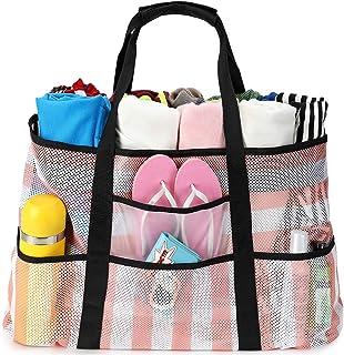 BLUBOON 网眼沙滩包玩具手提包家庭泳池防水防沙底 Pink White Stripe 22.44*7.87*14.76