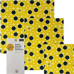 NIL 蜂蜡食品包装 – 3 包 – 不含合成蜡或化学物 – 全*天然 – 可重复使用的蜂蜡食品包装,含有荷叶油和麦芽油,可重复使用蜂蜡食品包装 黄色圆点