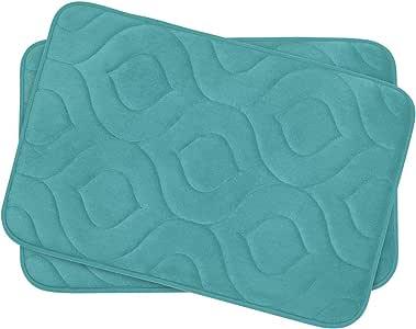 "Bounce Comfort 2 Piece Naoli Micro Plush Memory Foam Bath Mat Set, 17 by 24"", Turquoise"