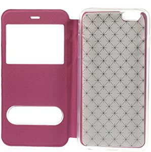 JUJEO Cross Texture Dual View Window Leather Stand Case for iPhone 6 Plus - Non-Retail Packaging - Rose