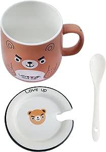 咖啡杯马克杯四个动物设计家庭和办公室使用 熊
