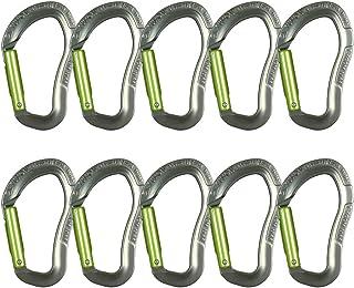 Fusion Climb Techno Zoom 铝制直门符合人体工程学 CE UIAA 认证登山扣灰色/苹果绿 10 只装