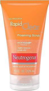 Neutrogena 露得清 面部透明泡沫磨砂膏,快速去角质,含水杨酸,用于粉刺和各种出问题的皮肤,4.2盎司(约119.07克),125毫升
