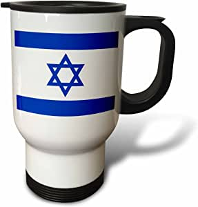 3dRose tm_151420_1 Israeli Flag-Blue and White with Magen David Star-Jewish State of Israel, Travel Mug, 14-Ounce, Stainless Steel