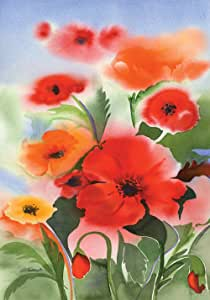 Toland Home Garden Watercolor Poppies 28 x 40 Inch Decorative Colorful Spring Poppy Flower House Flag