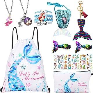 独角兽礼物女孩抽绳背包/化妆包/手链/派对礼品项链 White Mermaid 3 X大码