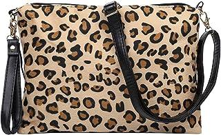 豹纹斜挎包,女式手拿包腕包,带可拆卸可调节肩带,完美礼品袋