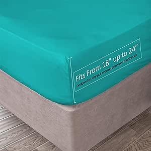 Clara Clark 53.34 厘米深套口床笠 * 柔软双磨毛超细纤维,普通双人床,白色 蓝* 全部 FitedCC21-F-teal