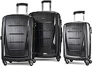 Samsonite 新秀丽 Winfield 2可扩展Hardside行李箱,配有旋转轮,3件式(20/24/28),拉丝无烟煤色