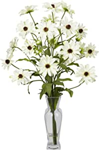 Nearly Natural 1172-WH Cosmos with Vase Silk Flower Arrangement, White