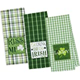 DII 100% Cotton, Machine Washable, Everyday Kitchen Basic Oversized Embroidered Dishtowel, 18 by 28-Inch, St Patrick's Day, Set of 3