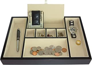 Ebony 胡桃木阀盘桌梳妆台抽屉硬币盒,全部用于钥匙、手机、珠宝、手表和配件