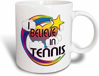 3dRose mug_166937_1 I Believe in Tennis Cute Believer Design Ceramic Mug, 11-Ounce