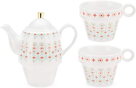 Pinky Up Taylor Casablanca 两只茶具 White, Red and Blue 8201