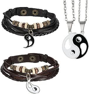 Aroncent 女士男士皮革手镯情人节阴阳黑色棕色2 件和 2 件吊坠项链适用于情人节周年纪念日