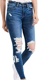 American Eagle 女式 2185462 Ne(X) t Level 紧身牛仔裤,破裂玻璃深蓝色