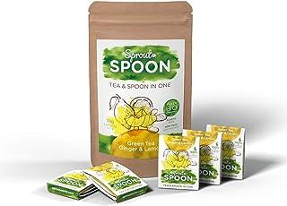 Sprout Spoon 绿茶姜和柠檬 | * 环保、可生物降解、无塑料材料茶叶混合无添加人造香料 | 5 件装