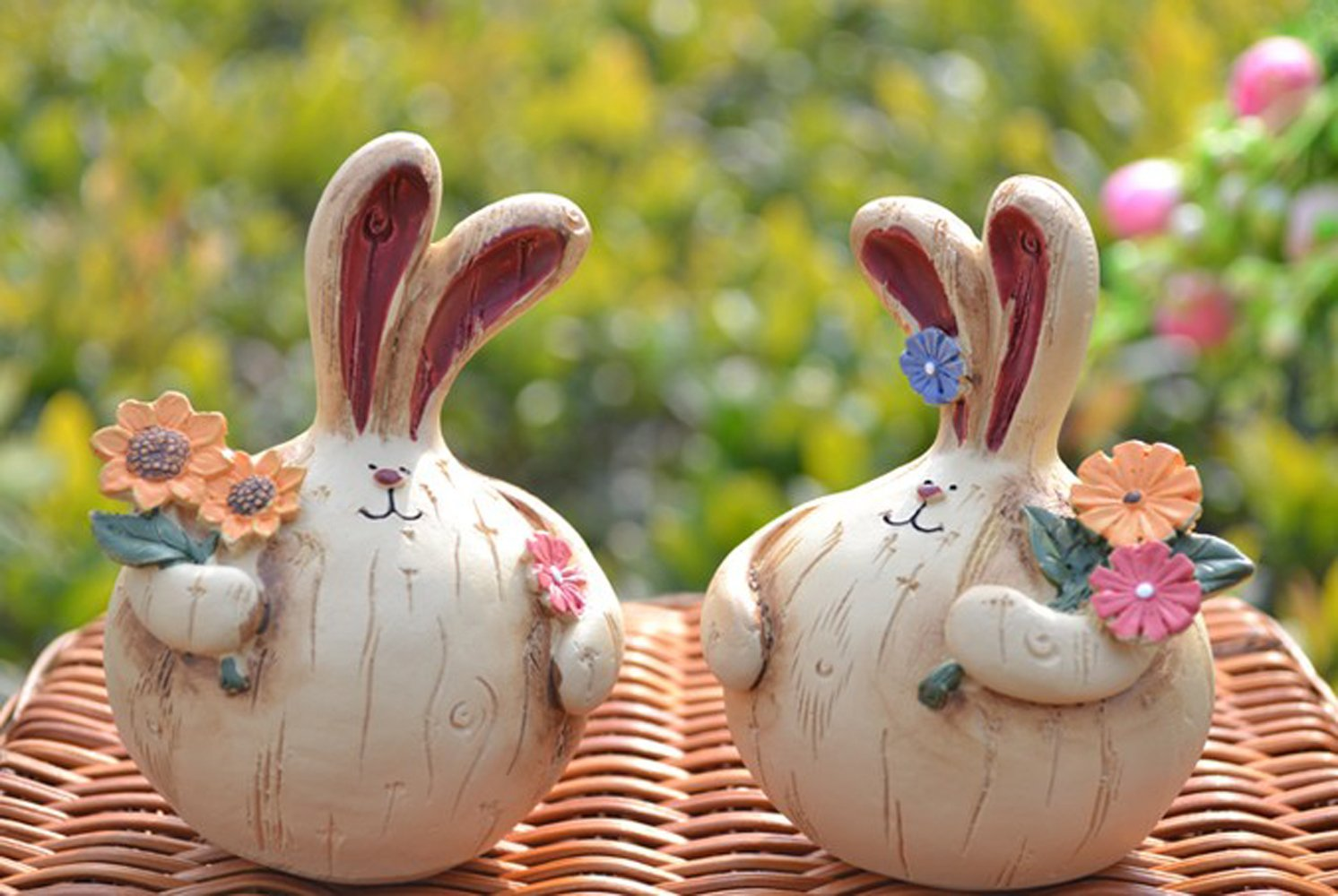 树脂大蒜头 胖胖兔公仔 情侣创意生日礼品摆件 伴侣孩子(胖胖嘟嘟一对