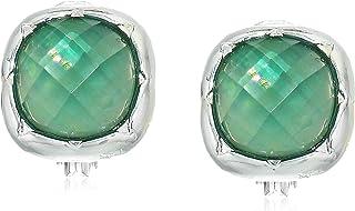 Anne Klein 安妮克莱因 绿宝石银色调纽扣耳环