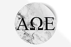 贴纸希腊校友贴纸,适用于汽车、笔记本电脑、窗户、官方*产品,字母设计图案 12.7 cm x 12.7 cm 白色大理石 Alpha Omega Epsilon 794020228345