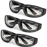 3 件装摩托车眼镜 - 泡沫衬垫 - 防风防尘 - 聚碳酸酯镜片 可调节 透明 BE-7698