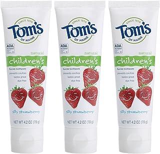 Tom's of Maine 防龋齿氟化儿童牙膏,天然牙膏,没头脑的草莓,4.2盎司/119克(3件)