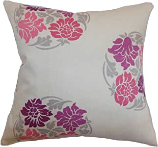 The Pillow Collection Ihosy Floral Pillow, Sangria