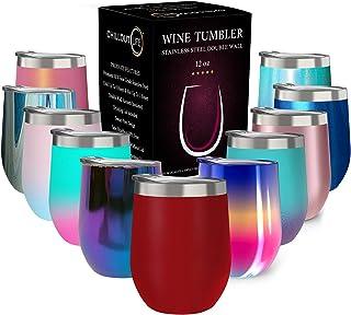 带盖不锈钢玻璃杯,双层真空绝缘葡萄酒杯 樱桃红 12盎司