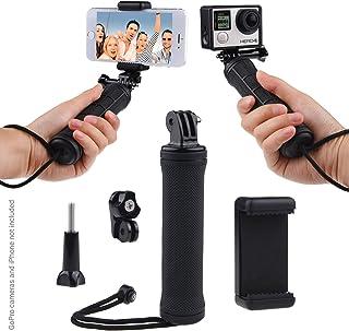 GoPro Hero 的稳定手柄,带双支架、三脚架适配器和通用手机支架 - 录音视频带 2 个不同的相机角同时,稳定拍摄照片,自拍... 黑色 D0065-UHG-BLA