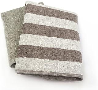 小杉善 迷你浴巾 灰色 50×100cm 横条纹&颜色 2片装