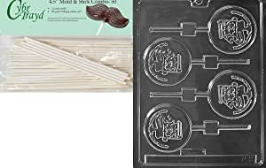 Cybrtrayd 45St50-P011 Constitution Lolly Patriotic Chocolate Candy Mold with 50 4.5-Inch Lollipop Sticks
