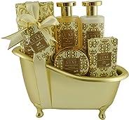 Gloss! 奢华浴缸沐浴礼品套装,白色花卉和音乐 - 5 件礼品盒 - 沐浴礼物