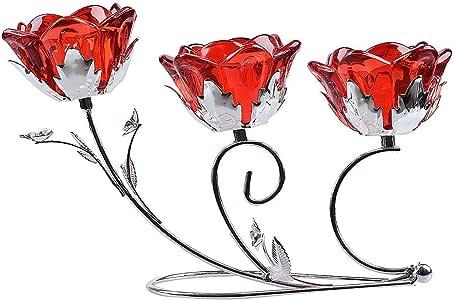 LONGWIN 玫瑰花花 3 个青灰色蜡烛台婚礼中心饰品 红宝石色 LSCH028-1-KJ