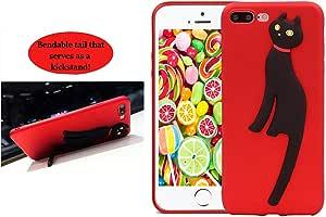 Bergman Uno 手机壳兼容 Iphone 7 PLUS/Iphone 8 PLUS 支架手机壳/猫设计支架手机壳/3D 猫可弯曲尾支架手机壳/防滑手机壳/手机套 红色
