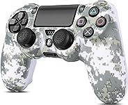 TNP PS4/超薄/專業控制器皮膚手柄保護套套裝 - 保護軟硅膠橡膠外殼和防滑拇指棒蓋適用于索尼 PlayStation 4 控制器游戲手柄 (迷彩馬賽克棕色)