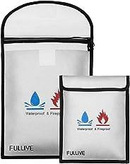 防火文件袋 - 38.1 厘米 X 27.94 厘米 防火*袋,17.8 厘米 x 22.9 厘米钱袋信封,无瘙痒硅胶涂层文件存储,防水文件袋,带拉链钱袋