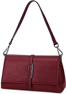Gywon 女式斜挎包时尚单肩包真皮手提包旅行钱包手机手拿包前翻盖多口袋 红色 大