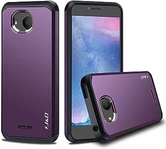 J&D Alcatel Tetra 手机壳,[ArmorBox] [双层] 混合防震保护壳,Alcatel Tetra 紫色